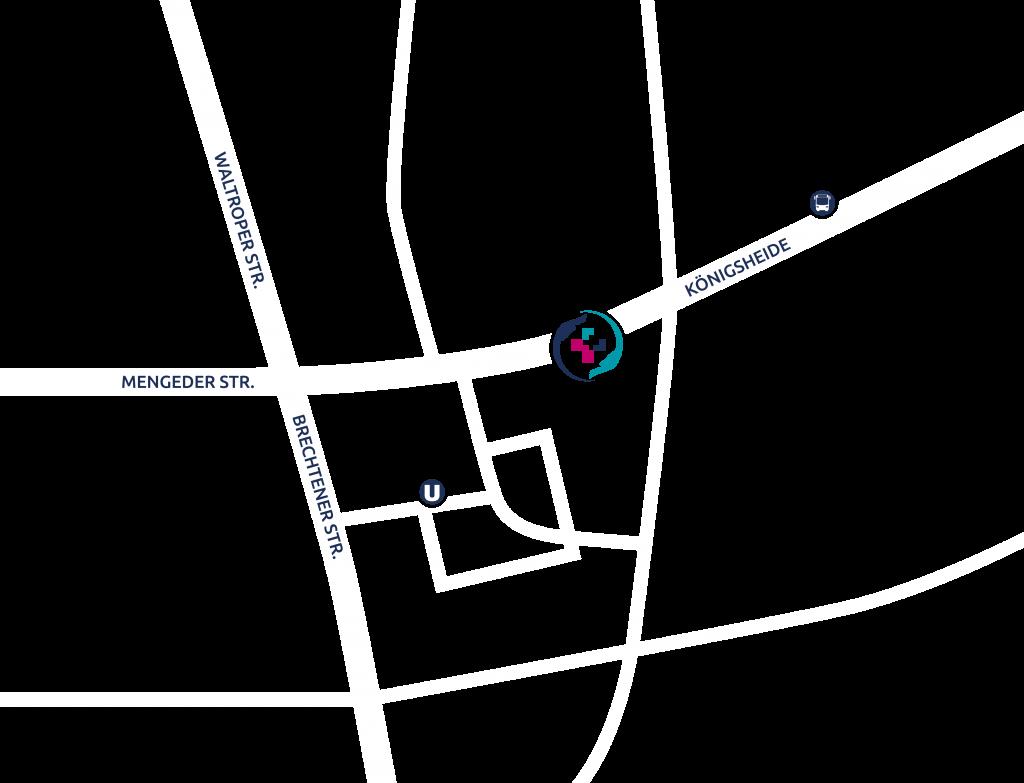 Anfahrtsskizze – Hausarztpraxis Hinz, Königsheide 26, 44536 Lünen